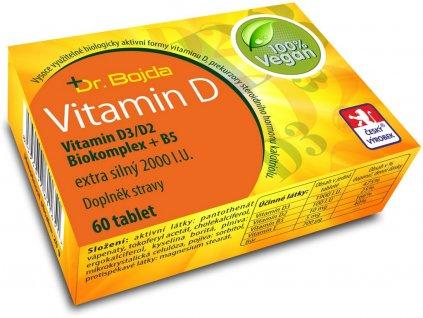 VEGANSKÝ Vitamín D3/D2 Biokomplex + B5 extra silný 2000 I.U. 60 tbl.