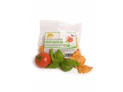 Trojhránky kukuřičné Rajče a bazalka 25g