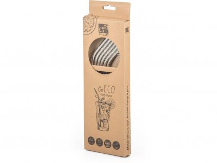 Kovová brčka BeEco Party 6 ks stříbrná, zahnutá + kartáček na čištění