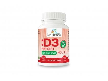 Vitamín D3 pro děti s příchutí jahod 400 IU 90 tbl. - Dr. Natural 44g