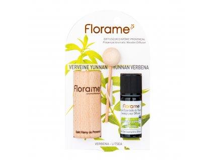 Difuzér provensálský dřevěný + éterický olej Verbena 10 ml BIO FLORAME