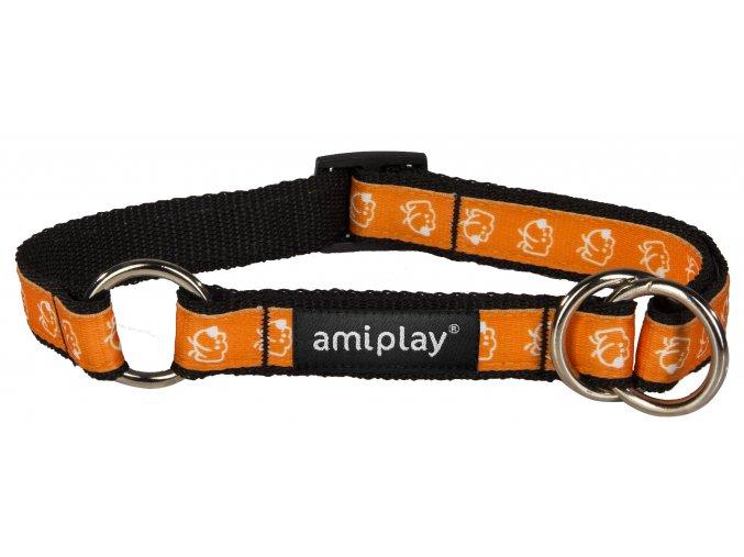 Obojek pro psa polostahovací nylonový - oranžový se vzorem pes - 2 x 35 - 50 cm