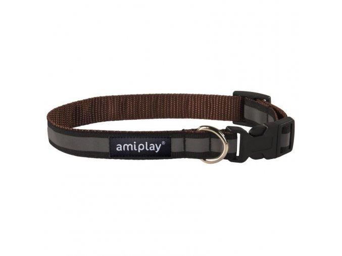 Obojek pro psa nylonový reflexní - hnědý - 2 x 24 - 42 cm