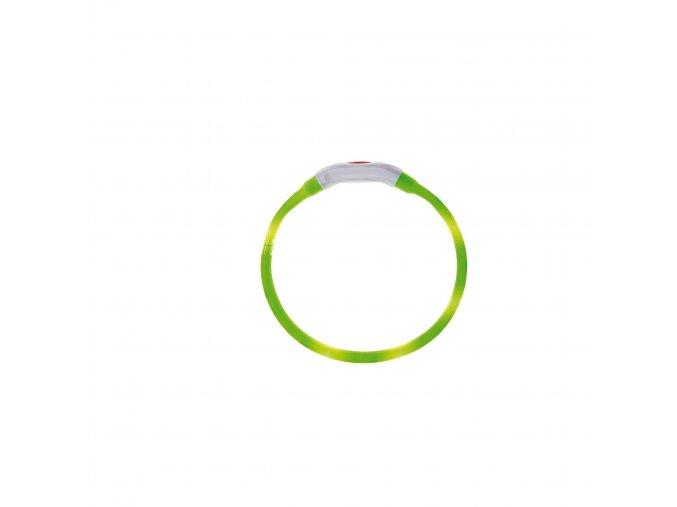 IMAC Svítící LED obojek s USB dobíjením - zelený - obvod 40 cm