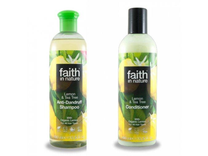 Faith in Nature BIO Vlasová sada proti lupům Citrón a Tea Tree 2x250 ml