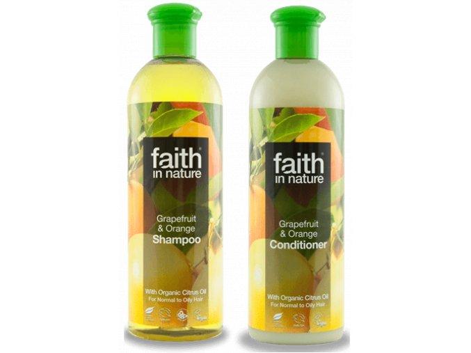 Faith in nature BIO Vlasová sada Grapefruit a pomeranč 2x250 ml
