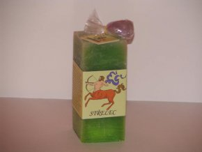 Svíčka kvádr střelec zelená