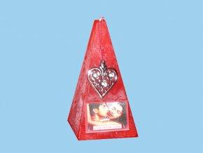 Svíčka jehlan valentýn s přívěskem - vůně pro milování