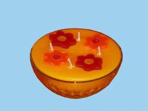 Interiérová svíčka jarní žlutá miska 4- knoty