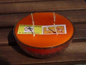 Interiérová svíčka ve skle, 4knoty-pomeranč