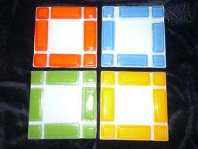 Podložka skleněná pod svíčku - žluto/oranžová AKCE