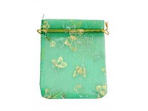 Organzový sáček dekor motýli tm.zelená 100x120mm č.17 AKCE