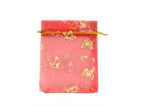 Organzový sáček dekor motýli červená 100x120mm č.20 AKCE