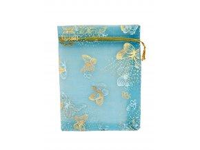 Organzový sáček dekor motýli modrý 100x120mm č.22 AKCE