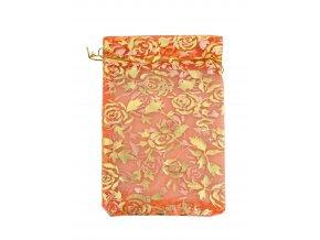 Organzový sáček dekor růže oranž 110x160mm č.23 AKCE