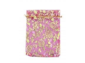 Organzový sáček dekor růže tm. fialová 110x160mm č.24 AKCE
