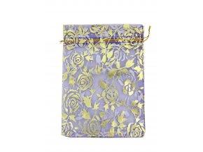 Organzový sáček dekor růže světle fialová 110x160mm č.29 AKCE