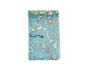 Organzový sáček dekor srdíčka sv. modrá 110x160mm č.37 AKCE