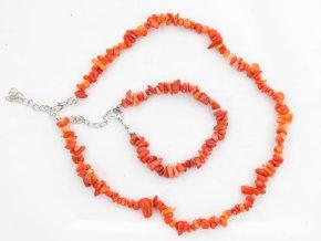 Sada náhrdelník + náramek tromlované č.3 jaspis oranžový