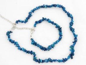 Sada náhrdelník + náramek tromlované č.6 jaspis modrý