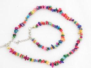Sada náhrdelník + náramek tromlované č.1 achát mix barev