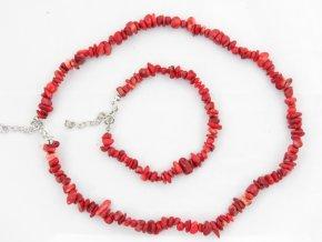 Sada náhrdelník + náramek tromlované č.2 jaspis červený