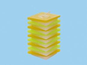 Svíčka PDP kosočtverec žluto zelený