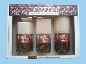 Dárková sada svíček s kávou - válec+kvádr+šestihran