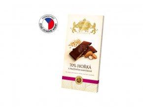 Hořká čokoláda s praženými mandlemi 80g