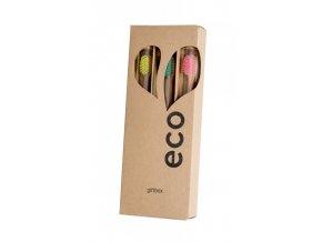 Ecoheart Giftbox - dárkové balení bambusových kartáčků (var. 1) (3 ks)