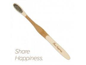 """Mobake Motivační bambusový kartáček - """"Share Happiness"""" (medium)"""