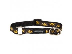 Obojek pro psa polostahovací nylonový - černý se vzorem květina - 2 x 35 - 50 cm
