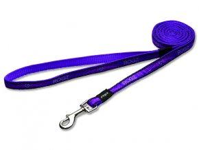 Vodítko pro psa nylonové - Rogz Fancy Dress Purple Chrome - 1,1 x 180 cm
