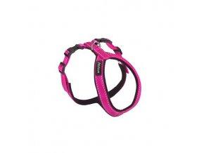 Postroj pro psa nylonový reflexní - růžový - 1,5 x 34 x 49 - 59 cm