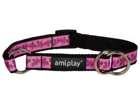 Obojek pro psa polostahovací nylonový - růžový se vzorem květina- 1,5 x 25 - 40 cm