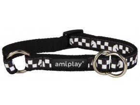 Obojek pro psa polostahovací nylonový - černý se vzorem šachovnice - 1,5 x 25 - 40 cm