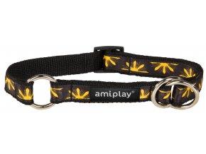 Obojek pro psa polostahovací nylonový - černý se vzorem květina - 1,5 x 25 - 40 cm