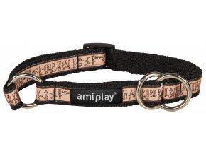 Obojek pro psa polostahovací nylonový - černý s egyptským vzorem - 1,5 x 25 - 40 cm