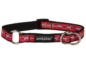 Obojek pro psa polostahovací nylonový - červený se vzorem kost - 1,5 x 25 - 40 cm