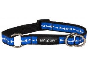 Obojek pro psa polostahovací nylonový - modrý se vzorem kost - 2 x 35 - 50 cm