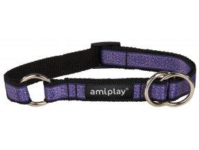 Obojek pro psa polostahovací nylonový - fialový se vzorem - 2 x 35 - 50 cm