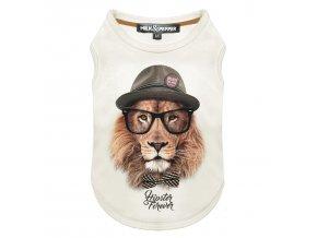 Tričko pro psa Milk&Pepper - vzor lev - bílé - 19 cm