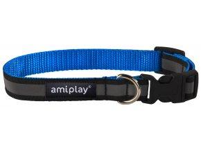 Obojek pro psa nylonový reflexní - modrý - 2 x 35 - 50 cm