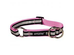 Obojek pro psa polostahovací nylonový reflexní - růžový - 2 x 26 - 48 cm