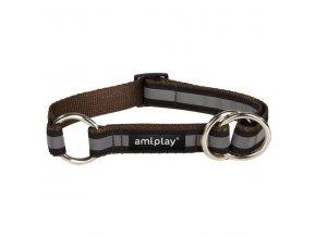 Obojek pro psa polostahovací nylonový reflexní - hnědý - 2 x 26 - 48 cm