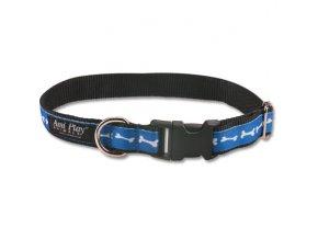 Obojek pro psa nylonový - modrý se vzorem kost - 1,5 x 25 - 40 cm