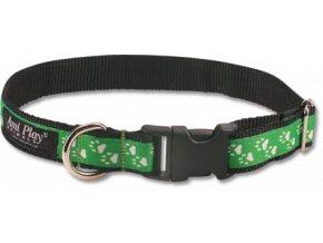 Obojek pro psa nylonový - zelený se vzorem tlapka - 1,5 x 25 - 40 cm