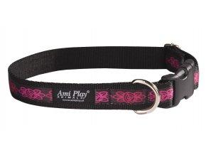 Obojek pro psa nylonový - černý s červeným vzorem - 1,5 x 25 - 40 cm