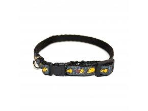 Obojek pro psa nylonový - černý se vzorem - 1,5 x 25 - 40 cm