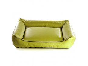 Pelech pro psa Argi obdélníkový - snímatelný potah z eko kůže - světle zelený - 80 x 65 cm
